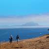 Santa Cruz Island, Channel Islands, Hikers on Cavern Point Loop Trail, Fog Over Anacapa Island