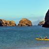 Santa Cruz Island, Channel Islands, Kayakers and Swimmer, Scorpion Anchorage