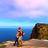 Santa Cruz Island, Channel Islands, Hikers on Cavern Point Loop Trail, Mainland in Background