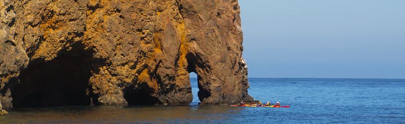 Santa Cruz Island, Channel Islands, Panorama with Kayakers