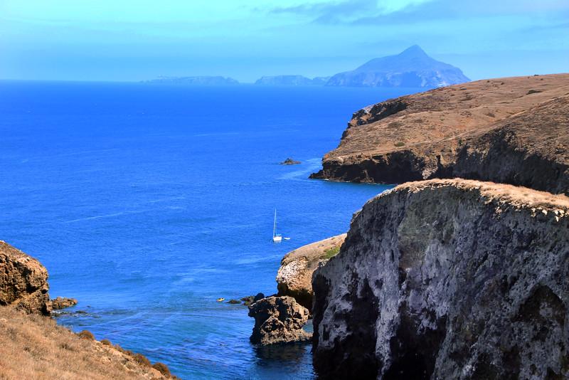 Santa Cruz Island, Channel Islands,  View from Smugglers Cove Road to Anacapa Island
