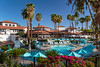 The pool area at the Rancho Las Palmas Resort and Spa in Palm Desert, California, USA.
