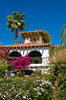 Bougainvillea flowers and Spanish architecture at the Las Brisas Best Western Resort in Palm Springs, California, USA.