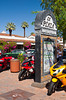 Shops and stores along Palm Canyon Drive, downtown Palm Springs, California, USA.