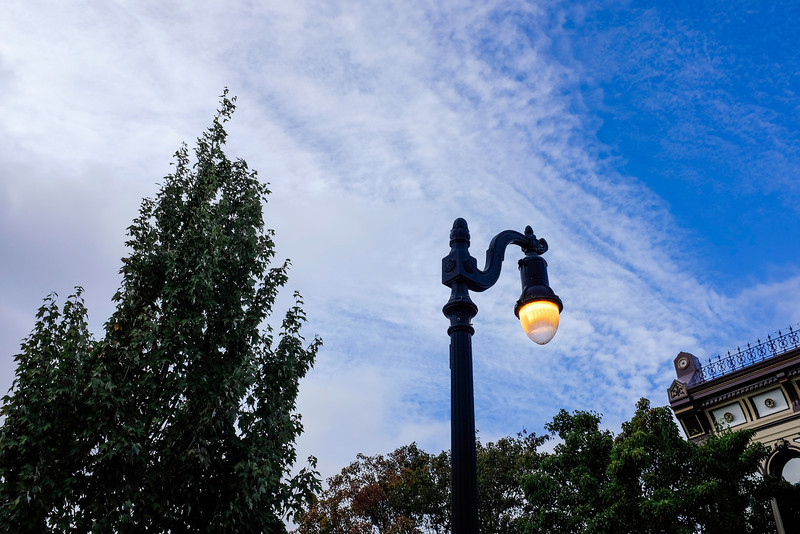 Street light during daylight