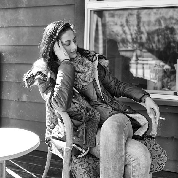 Nikki on Bob's porch.  Forest Knolls, Ca.