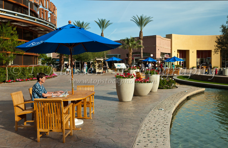 Shopping Center by the River in Rancho Mirage, California, USA.