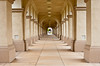 Pillars and arches in the buildings in Balboa Park, San Diego, California, USA.