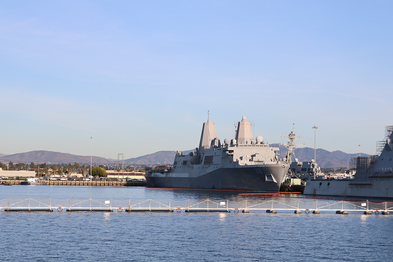 Military Ship in Port