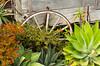 Wagon wheel decor in historic Old Town, San Diego, California, USA.