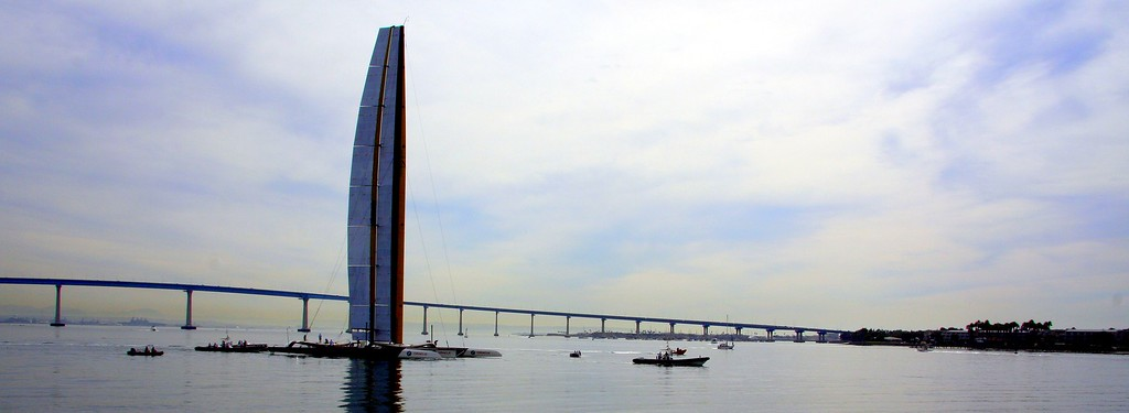 BMW Oracle 90ft Trimaran in San Diego training prior to the 2010 event in Valencia, Spain.