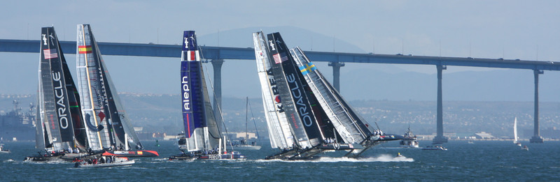The America's Cup World Challenge Series Nov 2011,  in San Diego harbour, eight international teams using the same 45ft catamarans