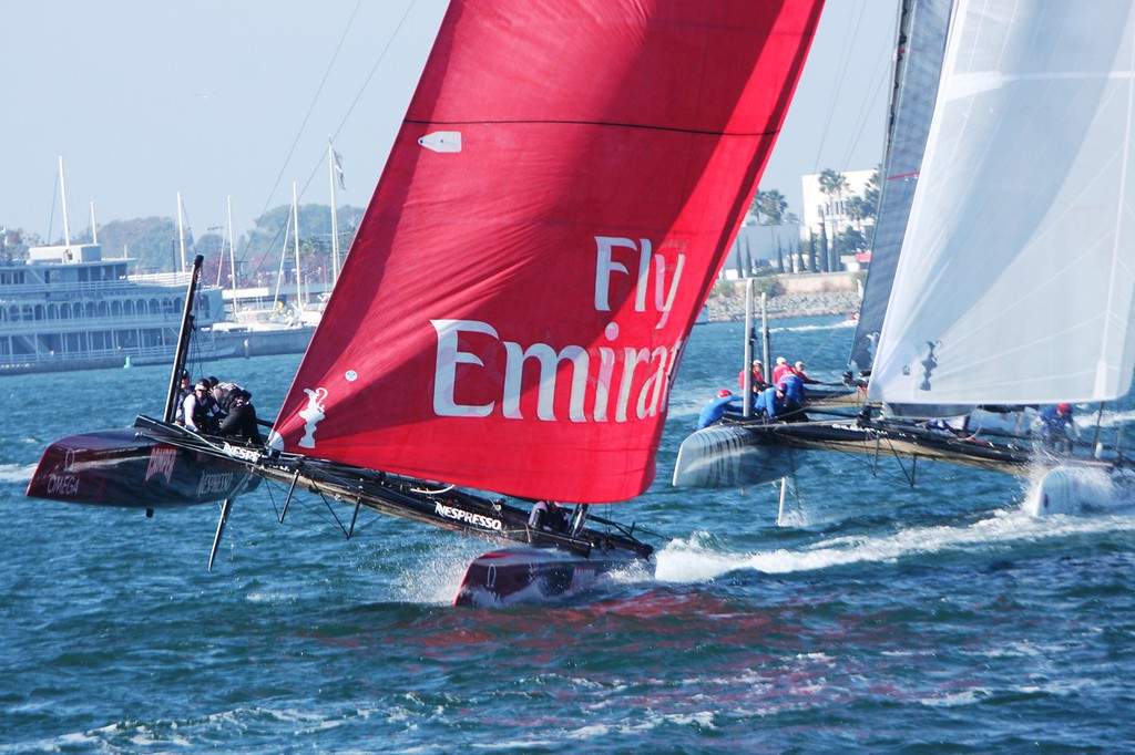 The America's Cup World Challenge Series Nov 2011 in San Diego harbour, eight international teams using the same 45ft catamarans