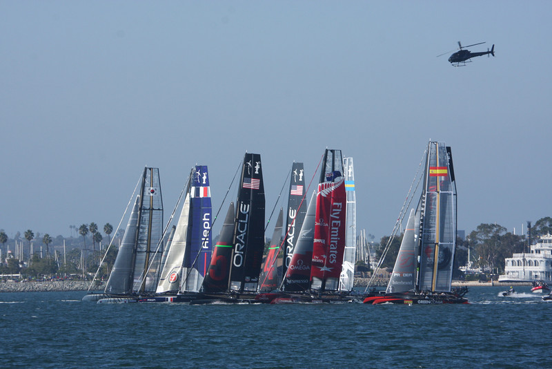 Start of a race, The America's Cup World Challenge Series Nov 2011,  in San Diego harbour, eight international teams using the same 45ft catamarans