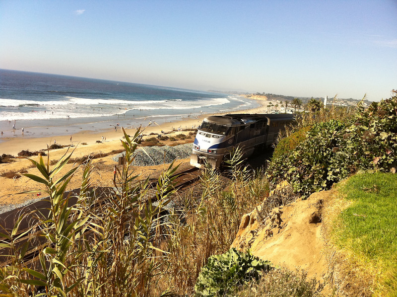 Amtrak & Coaster train at Del Mar Beach.