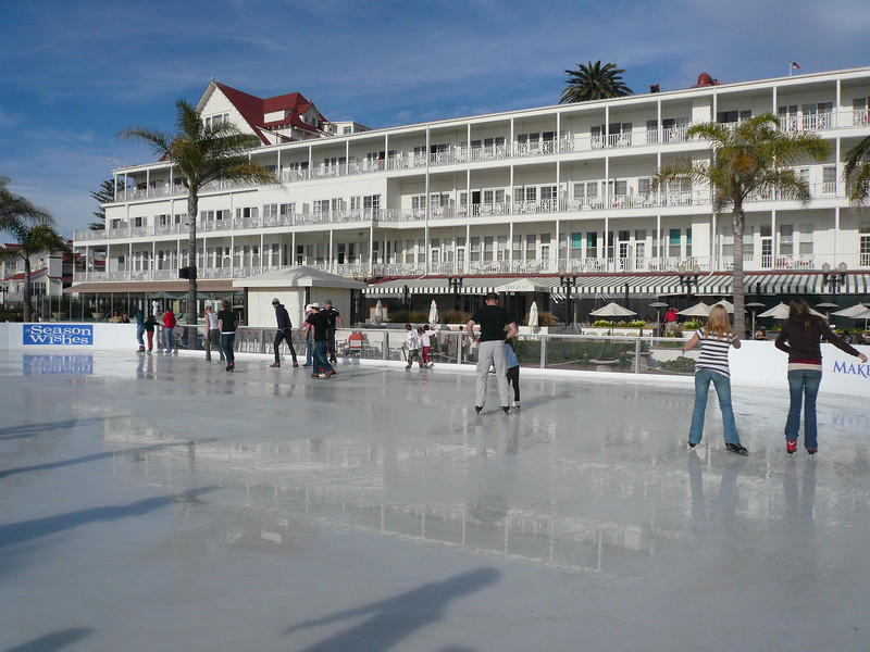 Hotel del Coronado, Ice skating at Christmas, San Diego, California