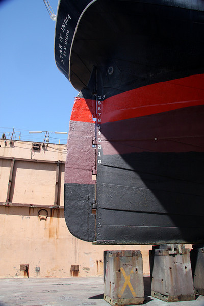 Star of India at BAE Systems Drydock, rudder detail.
