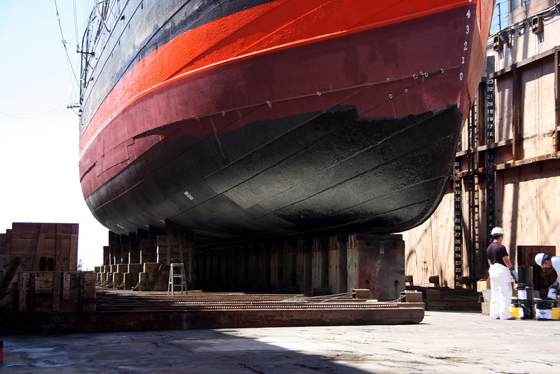 Star of India at BAE Systems Drydock, new coatings and a fresh red stripe