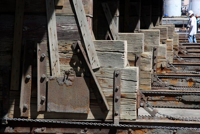 Star of India at BAE Systems Drydock, wood block and chains for removal details