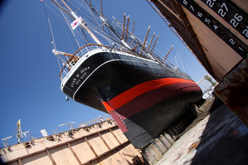 The Star of India in drydock at BAE, Aug 2009 for inspection and hull painting