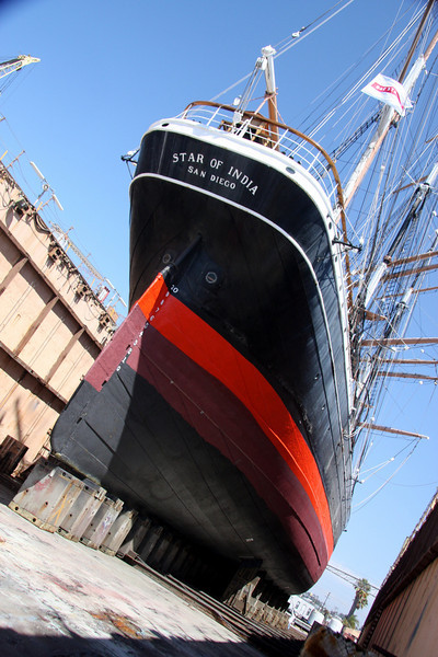 The Star of India in drydock Aug 2009 for inspection and hull painting