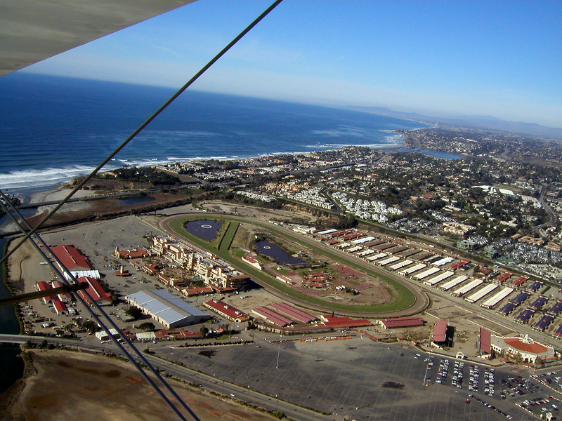 Del Mar Horse Track, 1930 TravelAir Biplane flight around San Diego, San Diego , California