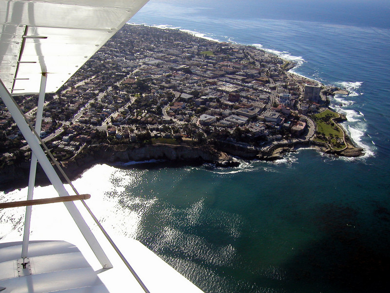 La Jolla Cove, 1930s TravelAir Biplane flight around San Diego,