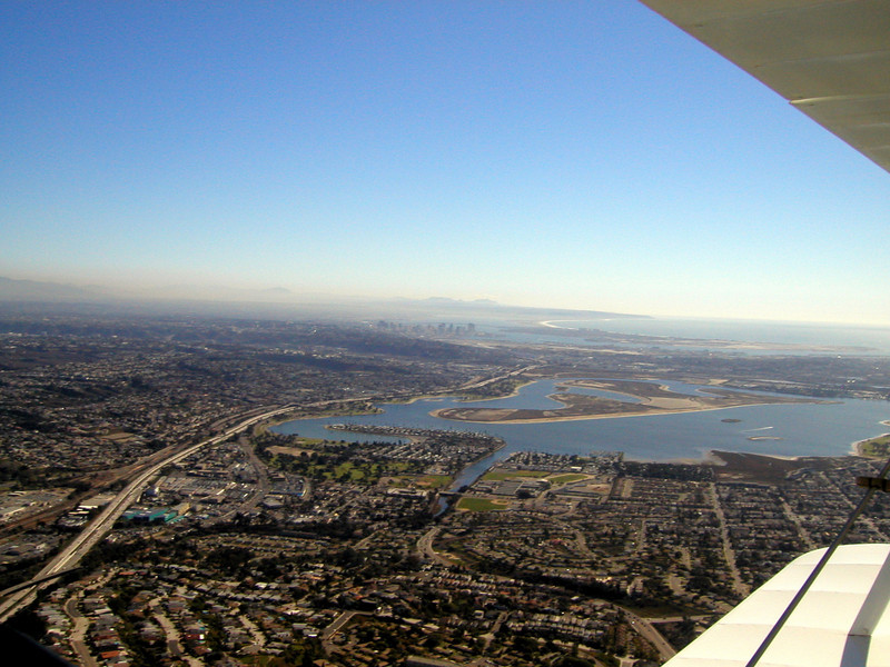 Mission bay area, 1930 TravelAir Biplane flight around San Diego, San Diego , California