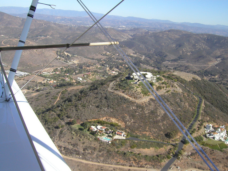 heading west, towards Lake Hodges, 1930s TravelAir Biplane flight around San Diego