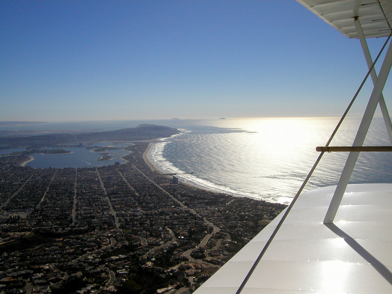 Mission Bay and the Pacific shining, 1930 TravelAir Biplane flight around San Diego, San Diego , California