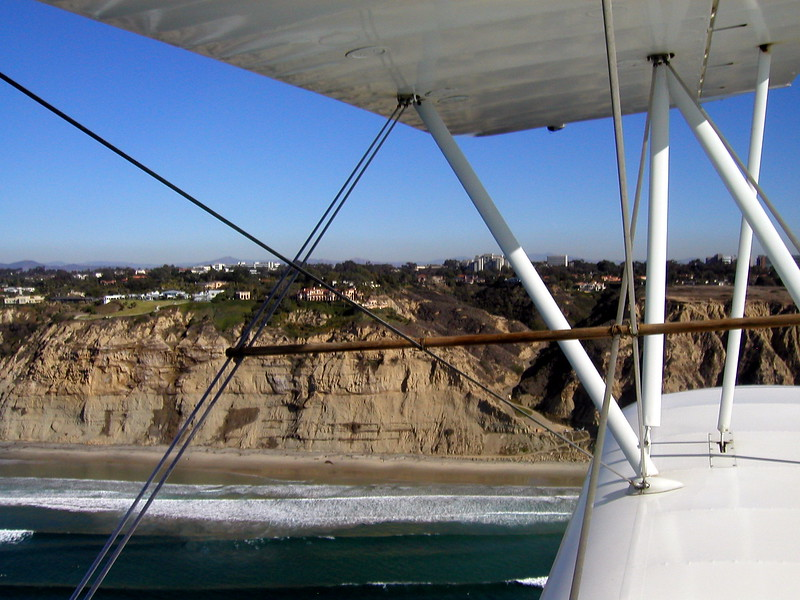Torrey Pines, 1930s TravelAir Biplane flight around San Diego,