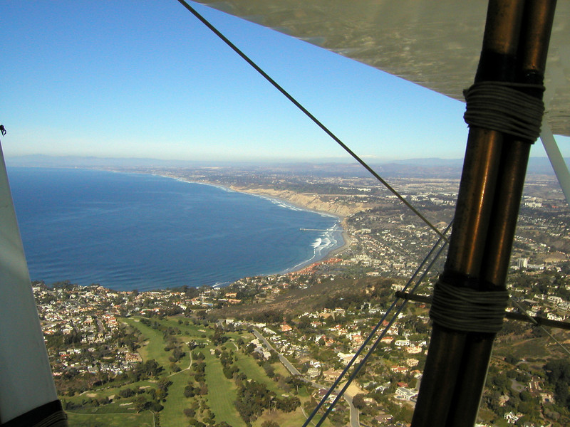 looking up the coast, 1930 TravelAir Biplane flight around San Diego, San Diego , California