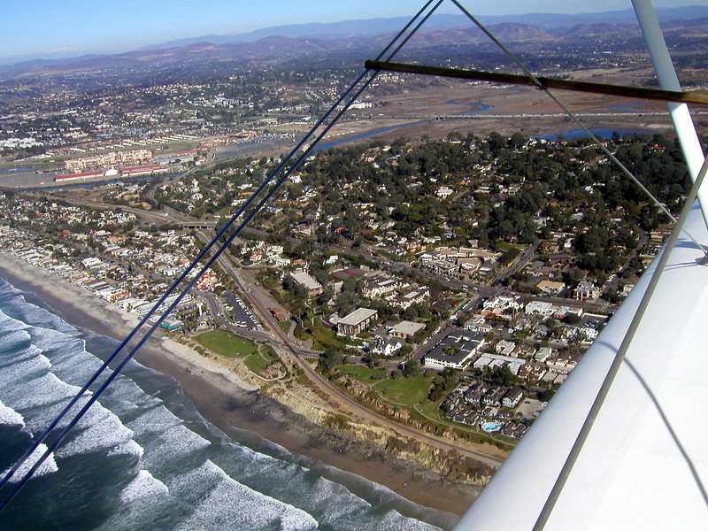 Del Mar, 1930 TravelAir Biplane flight around San Diego, San Diego , California