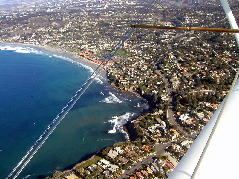 La Jolla Cove below, 1930s TravelAir Biplane flight around San Diego,