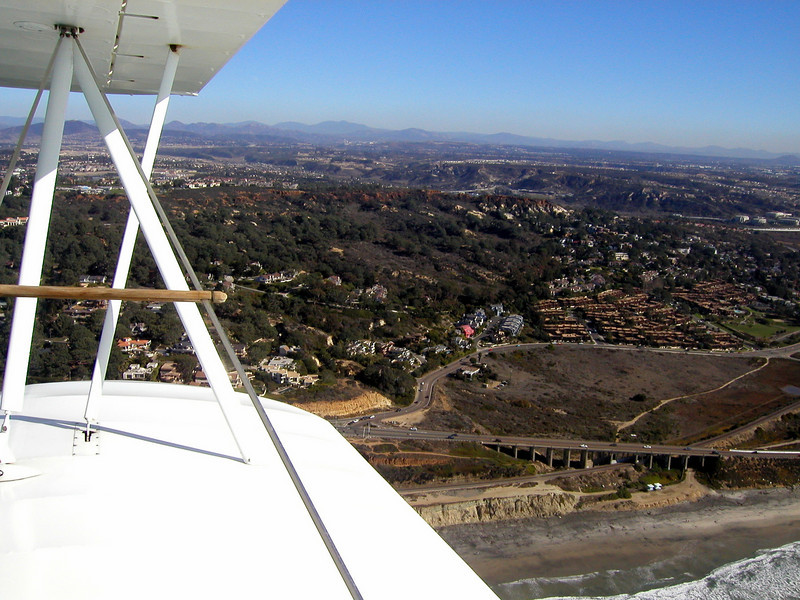 1930 TravelAir Biplane flight around San Diego,