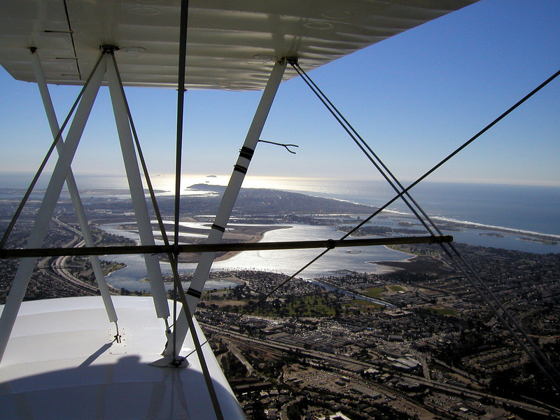 San Diego, to the left, 1930 TravelAir Biplane flight around San Diego,