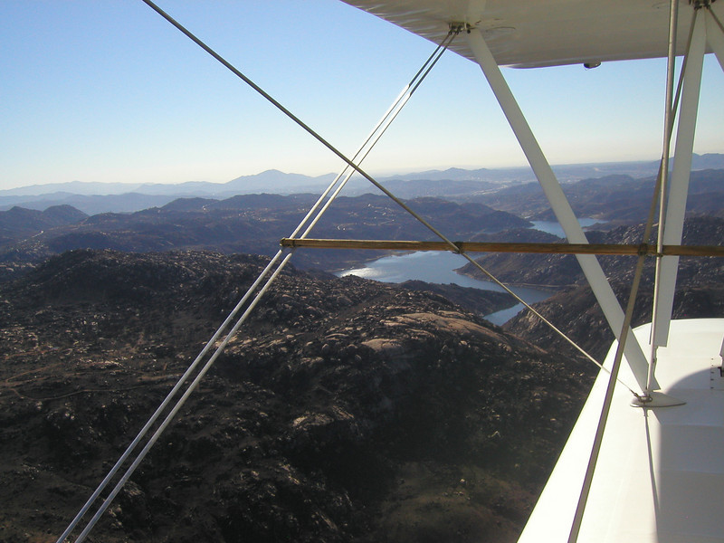Lake Hodges in the distance, you can see the burned areas from 2003 fires
