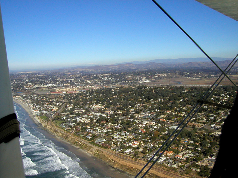 Del Mar, 1930 TravelAir Biplane flight around San Diego,