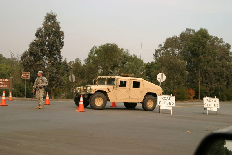 National Guard, blocks the highway, Wild Fires, 2007 Del Dios Blaze