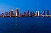 The San Diego skyline at dusk from Coronado Island, California, USA.