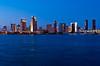 The San Diego skyline at dusk from Coronado Island, California, USA.