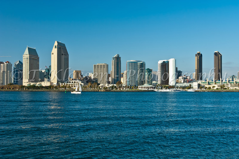 The San Diego skyline from Coronado Island, California, USA.