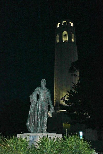 Coit Tower and Christopher Columbus Statue