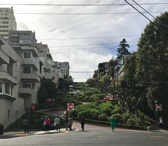 Cars Descend Lombard Street, Slowly!