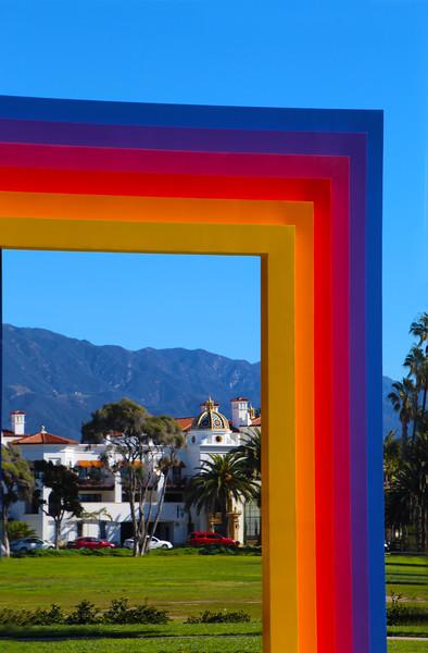 Santa Barbara, California, View Through Chromatic Gateway Sculpture