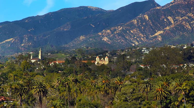 California, Santa Barbara,  Old Santa Barbara Mission from Courthouse Tower