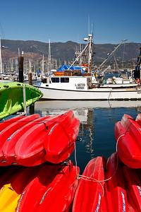 Santa Barbara Harbor, kayaks
