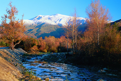 Santa Paula Creek with snow-covered mountains