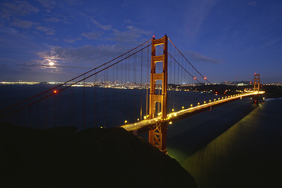 Golden Gate Bridge with moonrise