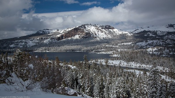 Thunder Mountain and Silver Lake after a Snowfall in April